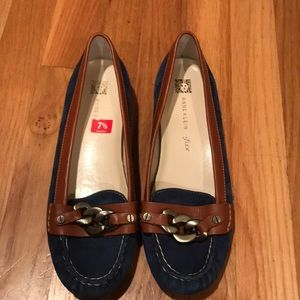 Anne Klein Iflex Blue Suede Loafers